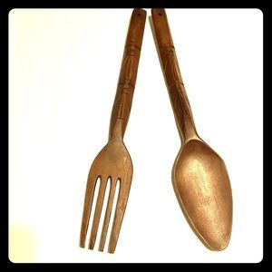 Vintage hand carved wooden spoon and fork decor